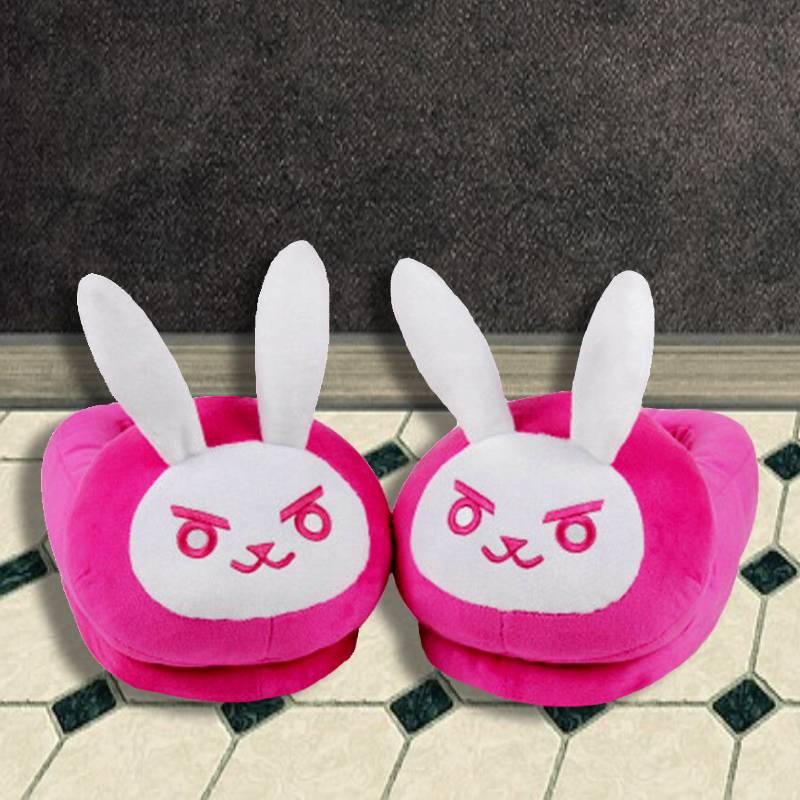 DVA White Pink Overwatch Bunny Slippers